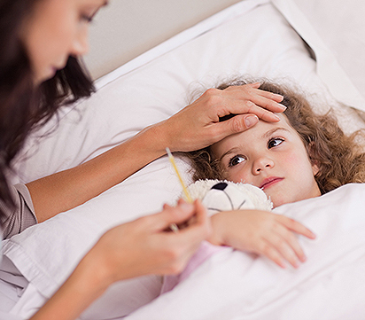 Una bambina con Influenza non può andare a scuola