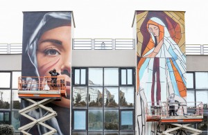 Jorit, un murales per l'ospedale di Pozzuoli